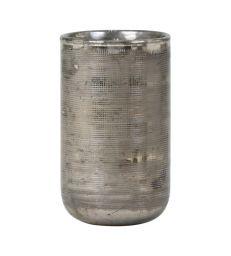 Photophore H15 cm verre strié argent