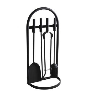 Valet de cheminée métal noir et 4 accessoires