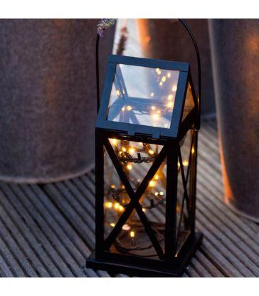 Lanterne métal noire 20 led