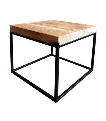 Set de 3 tables chêne et métal noir