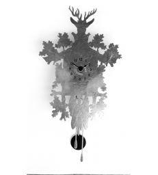 Horloge chalet feuilles d'argent