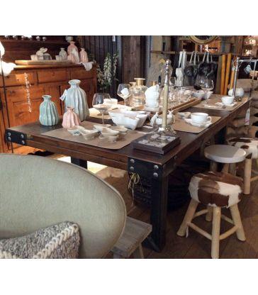 Table indus bois et acier