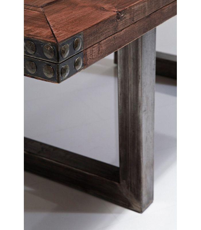 table, table basse : table en bois et acier inoxydable