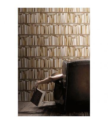 Papier Peint Bibliotheque ivoire