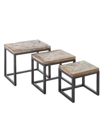 Set de 3 tables blanche décapage bois et métal