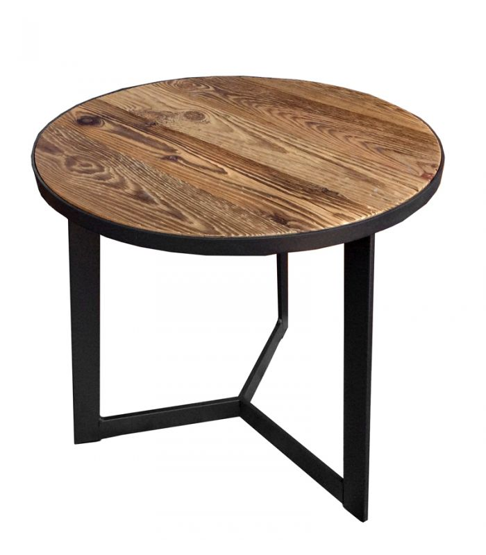 table dappoint ronde bois et mtal h50 - Table D Appoint Ronde