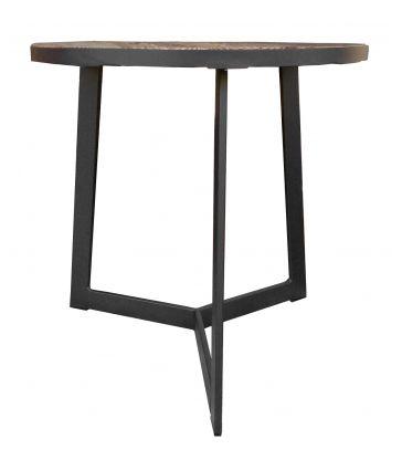 Table d'appoint ronde bois et métal H50