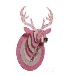 Trophée Cerf en carton rose printemps