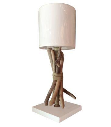 Lampe bois et cuir
