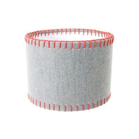 Abat-jour cylindrique gris et rouge 25*25*18