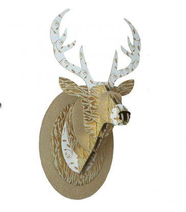 Trophée de cerf doré pailleté