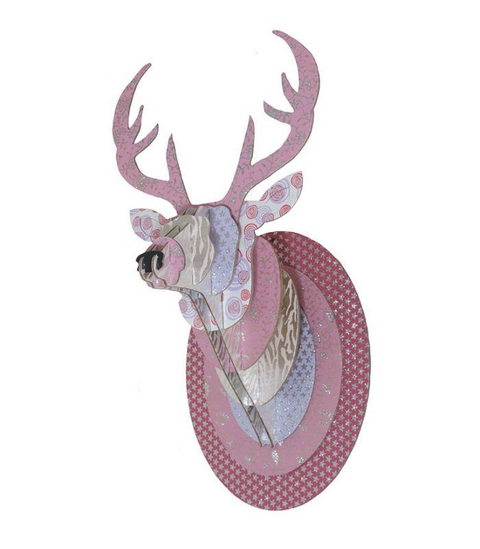Trophee de cerf rose paillete