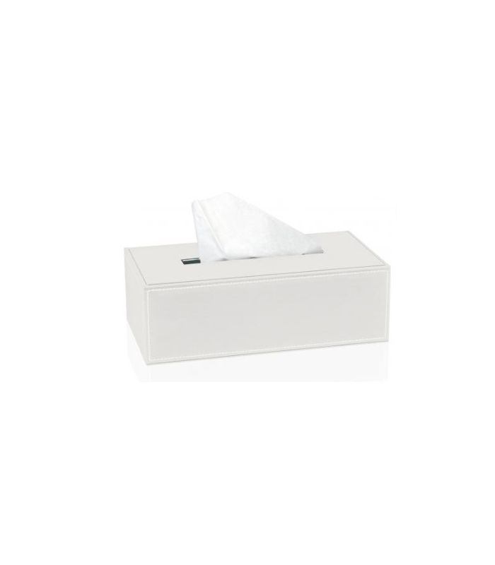 Boîte à mouchoirs simili cuir blanc