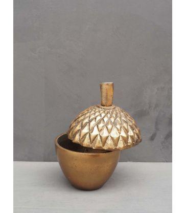 Boite gland métal doré vielli