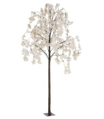 Arbre En Fleurs Plastique Blanc/Rose Medium