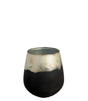 Photophore Verre Noir/Or S 10*10*13