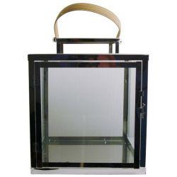 Lanterne carrée moyenne nickel et cuir