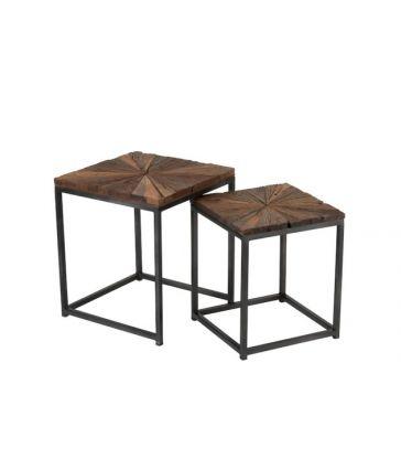Set De 2 Tables Bois Nat./Metal Gris 44*44*54
