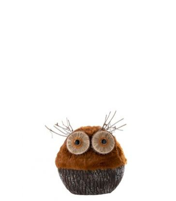 Hibou Deco.Peluche Orange/Marron 24*13*27