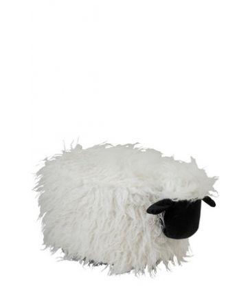 Pouf Mouton Textile Ecru/Noir 64*36*32