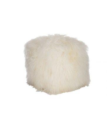 Pouf Laine D'agneau Poils Longs Blanc 57*57*42