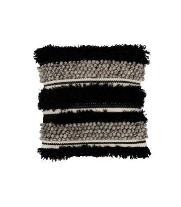 Coussin Fluffy Laine Noir/Blanc 45*45
