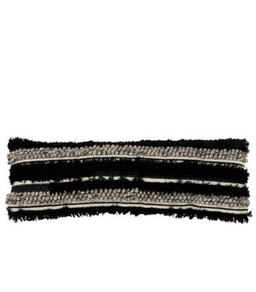 Coussin Fluffy Long Laine Noir/Blanc 100*31*8
