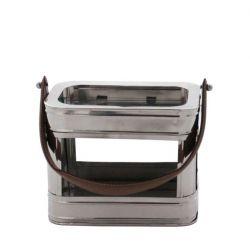Lanterne verre et métal avec poignée cuir