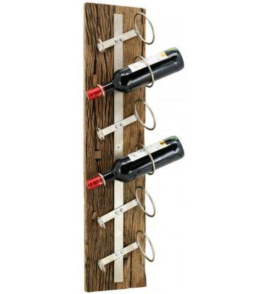 Porte 6 bouteilles métal et bois