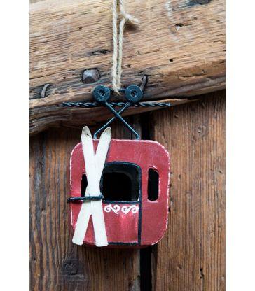 Suspension téléphérique rouge