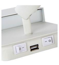 Applique métal blanc Led et branchement USB