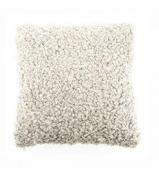 Coussin fourrure synthétique frisés gris beige