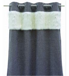 Rideau gris alaska fourrure blanche 130*260