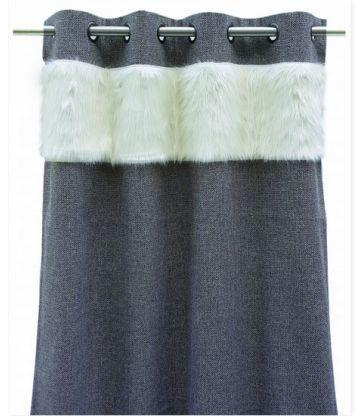 Rideau gris alaska fourrure blanche130*260