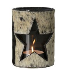 Lanterne vache étoile noir/blanc 15cm
