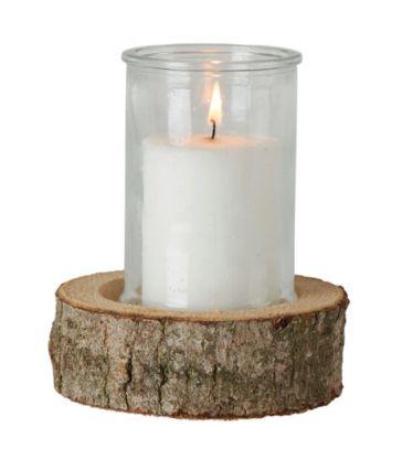 Bougie sur socle en bois