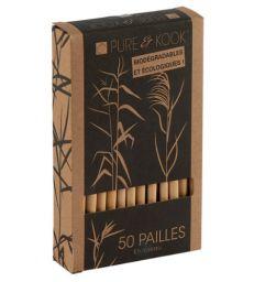 Boîte de 50 pailles en roseau