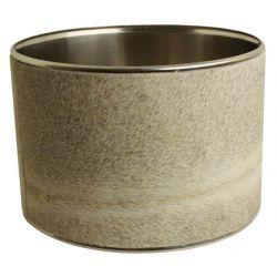 Abat-jour cylindrique peau de vache grise Diam30 H18