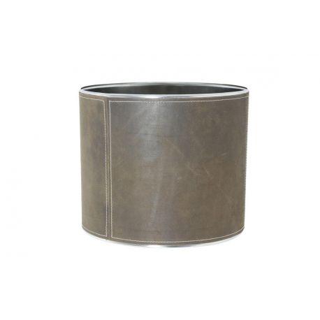 Abat-jour cylindrique cuir brun 35*35*30