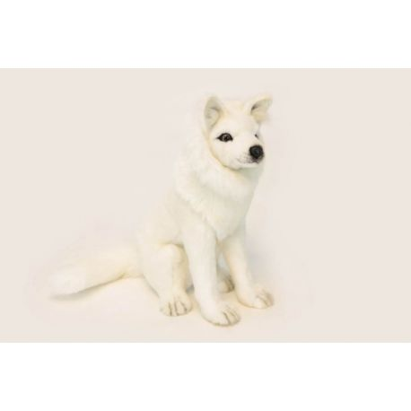 Loup blanc assis taille 32 cm