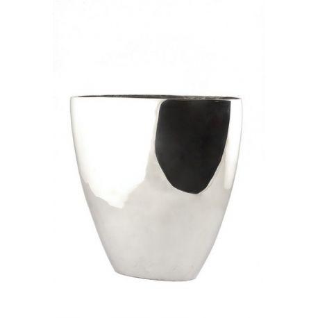 Vase ovale argenté H50