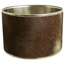 Abat-jour cylindrique peau de vache brune 30*30*18